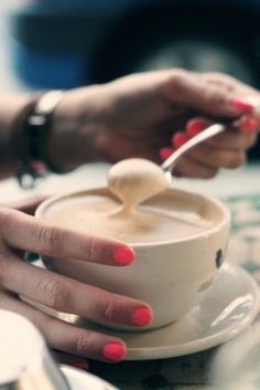 Coffee and bright nails