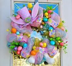 Easter Bunny Hat and Paws  Mesh Ribbon  Wreath with by 4allseasons, $89.99