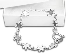 Autism Silver Linked Puzzle Bracelet in a Gift Box   http://thehouseofawareness.com/collections/autismawarenessbracelets/products/autism-silver-linked-puzzle-bracelet-in-a-gift-box