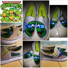 Custom Painted Ninja Turtle shoes by ModernFymyKicks on Etsy, $35.00