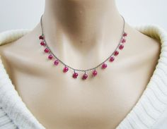 Ruby sterling silver necklace July birthstone by 7PMboutique, $45.00