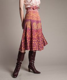 1970s Batik Skirt 70s India Cotton Skirt door concettascloset,