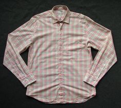 STEVEN ALAN MENS M medium PLAID REVERSE SEAM BUTTON DOWN SHIRT #stevenalan #ButtonFront
