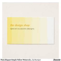 Plain Elegant Simple Yellow Watercolor Pastel Business Card #Plain #Elegant #Simple #Yellow #Watercolor #Pastel #Business #Card