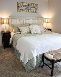 Recycled Door   Transform an old door into a rustic-chic headboard. Would you like this style in your bedroom? #DIY - Debra Simons - Google+