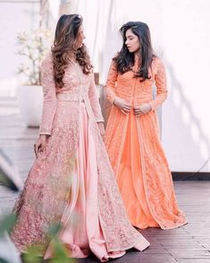 #shaadiwish #indianwedding #bridesmaidsoutfitideas #lehenga #lehengacholi #bridesmaidsoutfit #fashioninspiration #bloggers #fashionbloggers #aaliya&tina #pinkorangesuit Women's Ethnic Fashion, Indian Fashion, Pakistani Outfits, Indian Outfits, Asian Party Wear, Elegant Dresses, Beautiful Dresses, Bridesmaid Outfit, Bridesmaids