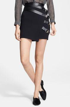 The Kooples Leather Buckle Detail Crepe Skirt | Nordstrom