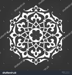 Round vintage vector ornament in Arabesque style. Round vintage vector ornament in Arabesque styl. Round vintage vector ornament in . Islamic Art Pattern, Arabic Pattern, Damask Stencil, Stencil Patterns, Mandala Painting, Mandala Art, Pewter Art, Art Asiatique, Beste Tattoo