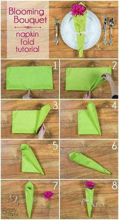 For the forthcoming festival season, learn how to fold napkins in unique shapes like hats, shirt, flowers etc. Explore creative napkin folding ideas here. Paper Napkin Folding, Paper Napkins, Wedding Napkins, Napkin Rings, Tablescapes, Diy And Crafts, Presentation, Projects To Try, Bloom