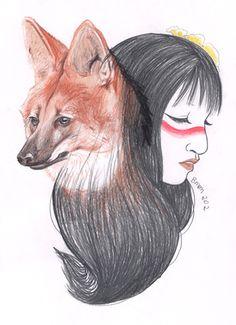Lobo-guará e a protetora  Lobo-guará and the protectress
