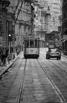 I love this dream-like streetscape, with the lonely streetcar. Where is it?