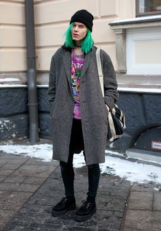 """Oscar, 18    """"I'm wearing a self-dyed t-shirt, my father's old coat, my brother's bag and accessories from a sex shop.  i-D and Vogue magazines from the 90s and the early noughties inspire me."""""""