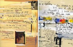 These journal pages are reminiscent of how many artists record thoughts and ideas. The background of images, layered paper and smeared paint has been covered with scrawled handwritten texts; passages have been written in larger font to create emphasis and lines help to segment parts of the text.