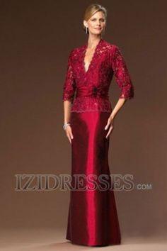 A-Line V-neck Elastic Woven Satin Mother Of The Bride Dresses - IZIDRESSES.COM at IZIDRESSES.com