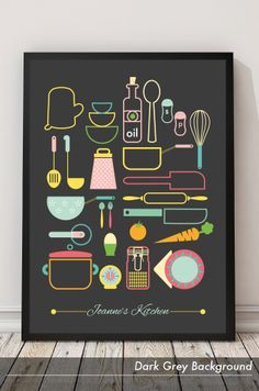Yup, these are the kitchen essentials. Personalised graphic art print.