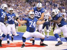 Colts tackle Anthony Castonzo does his touchdown dance after a second half pass reception from Andrew Luck.