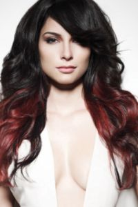 Brunette with red ombre. Loving it- 2 sections colored