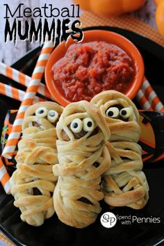 Meatball Mummies...  these deliciously adorable meatballs are perfect for Halloween or any time of year!