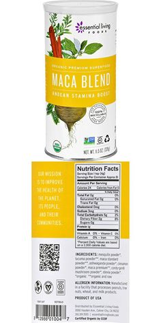 Essential Living Foods Maca Blend Powder - Organic - Andean Stamina Boost - 11.5 oz - Energy Supplements - Vegan - Non GMO