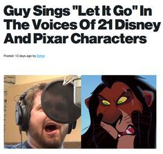 "Guy sings ""Let it Go"" in Disney characters : Amazing!!!!! I was smiling the whole time."