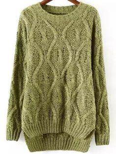 Green Round Neck Dip Hem Sweater -SheIn(abaday)