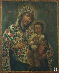 Ukraine Icon of the Virgin Mary and Baby. Unknown author, the end of the XVIII century (with Petrykivka decorative painting) Orthodox Icons, Virgin Mary, Madonna, Jesus Christ, Folk Art, Greece, Culture, Statue, Ukraine