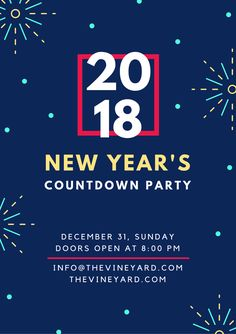 New Year's Countdown Party Holiday Poster - Canva