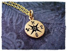 Tiny Compass Charm Necklace in Bronze with a Delicate 18 Inch 14KT Gold Filled Cable Chain