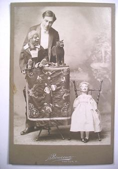 c1900 Cab Photo VENTRILOQUIST WITH 3 DUMMIES Man Woman & Cat Dayton OH Bowersox   eBay