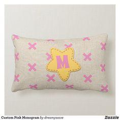 Custom Pink Monogram Lumbar Pillow Playroom Decor, Nursery Decor, Everything Baby, Christmas Card Holders, Custom Pillows, Lumbar Pillow, Keep It Cleaner, Sunglasses Case, Kids Fashion