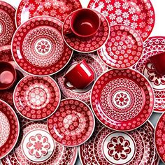 Amazon.com | Oxford 20 Piece Red Lace Collection Daily Dinnerware Set: Dinnerware Sets