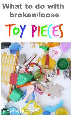 I am glad I didn't throw away those old toy pieces... Repinned by Apraxiakidslearning