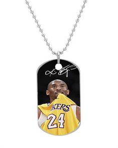 Kobe Bryant Lakers 24 Custom Dog Tag with Neck Chain, Aluminum Oval Dog Tag Necklace Design by Vingoo ** Continue to the product at the image link.