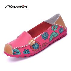 6771b5bcb77640 Summer Flower Print Women Genuine Leather Shoes Flat Flexible Nurse Peas  Loafer Leather Shoes