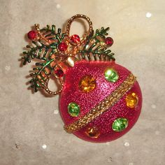 Vintage Christmas Brooch Ornament Shape with by TheJewelryEmporium, $85.00