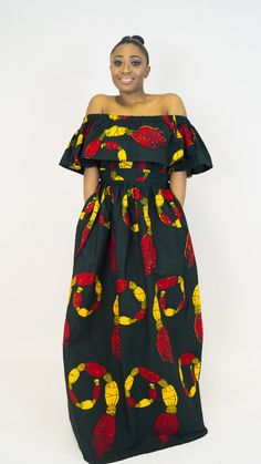 ankara clothing, off shoulder top co-ord, off shoulder top, maxi skirt, ankara skirt, ankara top, cold shoulder off, top, retro skirt, by MADKollection on Etsy