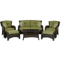 Enhance the look and feel of any outdoor seating area using this Hanover Strathmere Deep Wicker Patio Seating Set with Cilantro Green Cushions. Outdoor Seating Areas, Patio Seating, Outdoor Lounge, Outdoor Living, Outdoor Spaces, Outdoor Ideas, Outdoor Decor, Rustic Outdoor, Patio Dining