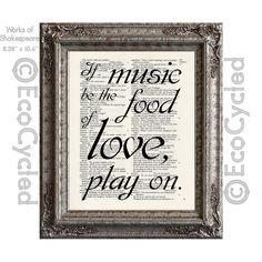 New to EcoCycled on Etsy: Shakespeare Music the Food of Love Play On on Vintage Upcycled Dictionary Art Print Book Art Print Repurposed Recycled (10.00 USD)