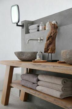 vasque salle de bain avec rayons en bois