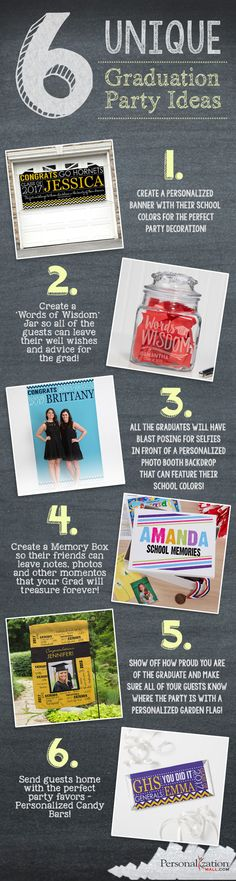 """Saving this for later.😉 LOVE these unique graduation party ideas! The """"Words of Wisdom"""" Jar is such a cute idea for a grad party guest book! Love all these ideas! 8th Grade Graduation, College Graduation Parties, Graduation Party Supplies, Graduation Celebration, Graduation Party Invitations, School Parties, Grad Parties, Graduation Ideas, Diy Guide"""