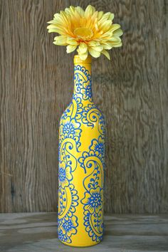 Hand Painted Wine bottle Vase, Sunshine Yellow and Sky Blue, Henna style design