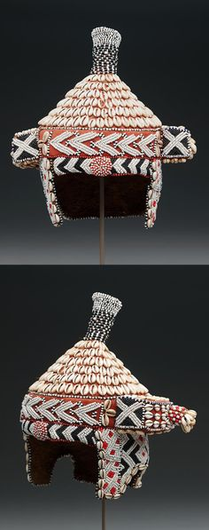 Africa   Prestige hat ~ mpaan ~ from the Kuba people of DR Congo   Palm-leaf fiber textile, cotton textile, cowrie shells, and glass beads   20th century