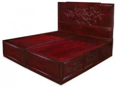Elegant Chinoiserie of Rosewood Cherry Blossom Design Platform Bed with Drawers Set for Bedroom Furniture by China Furniture and Arts