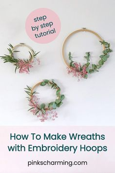 These seasonal indoor wreaths are the perfect way to decorate for winter and Christmas, with a minimal, Scandi look that is so chic. All you need are a few simple materials, and you'll whip these embroidery hoop wreaths up in no time, and they'll last all season, and smell gorgeous too. | #pinkscharming