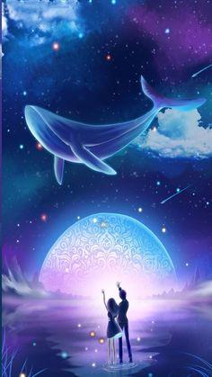 Pin Image by Bunda Hijaber Scenery Wallpaper, Cute Wallpaper Backgrounds, Pretty Wallpapers, Anime Galaxy, Galaxy Art, Fantasy Art Landscapes, Fantasy Landscape, Cute Galaxy Wallpaper, Wale