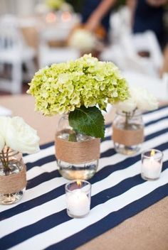 It doesn't get much more nautical than navy and white stripes on a brown tablecloth!