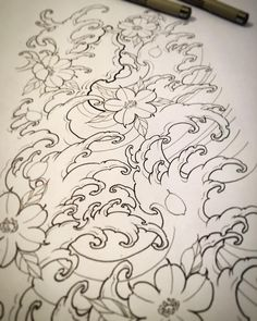 Image may contain: drawing Japanese Wave Tattoos, Japanese Waves, Japanese Dragon Tattoos, Japanese Tattoo Designs, Japanese Sleeve Tattoos, Tattoo Sketches, Tattoo Drawings, Body Art Tattoos, Koi Tattoo Design