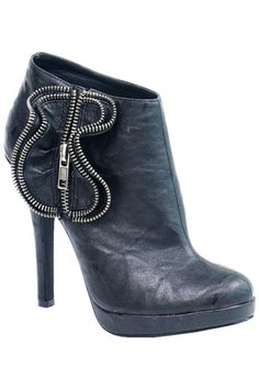 Black Zipper Detailed Bootie Heels - 5.5 to 10 - Unique Vintage - Homecoming Dresses, Pinup & Prom Dresses.