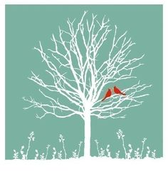 black or grey tree stamp with red birds?