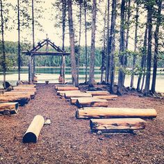 """Our outdoor """"chapel"""" at Elk Lake Resort. Still trying to figure out how to decorate the altar."""